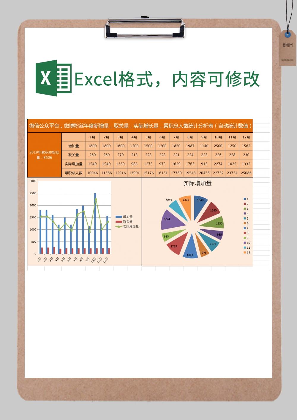 数据统计分析图表excel模板