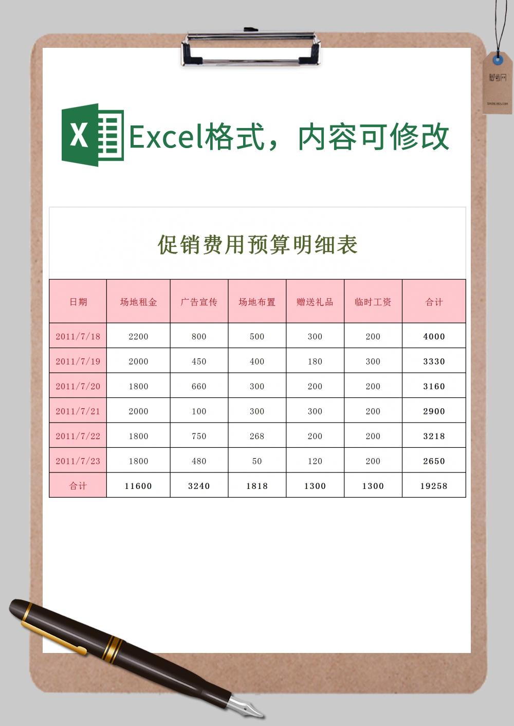 促销费用预算明细表xExcel模板