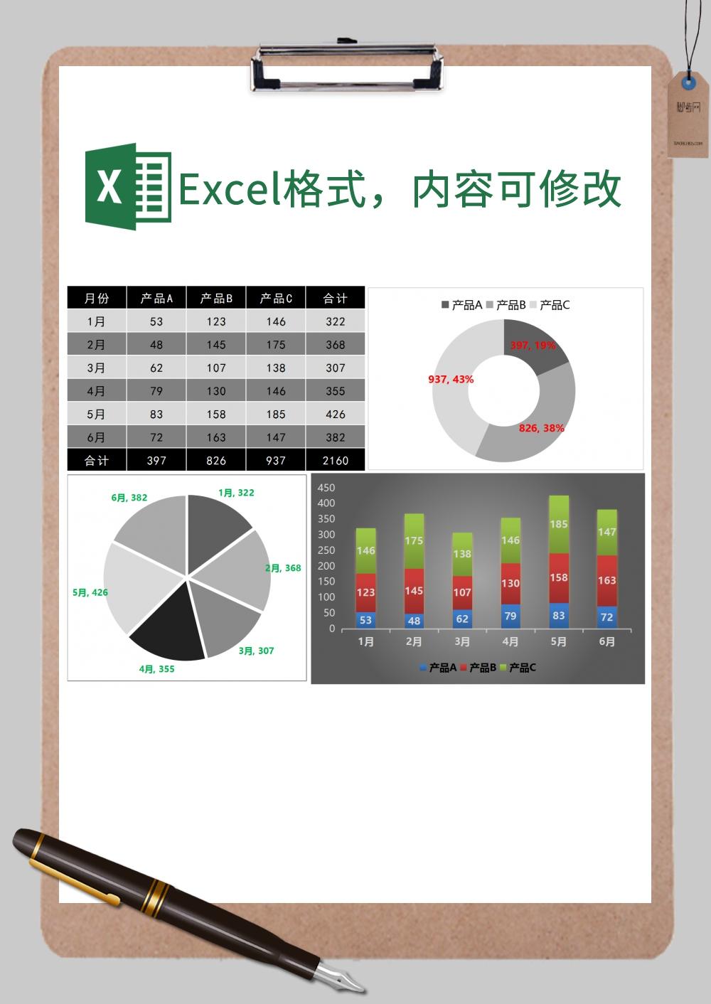 半年不同产品数据对比图表Excel模板