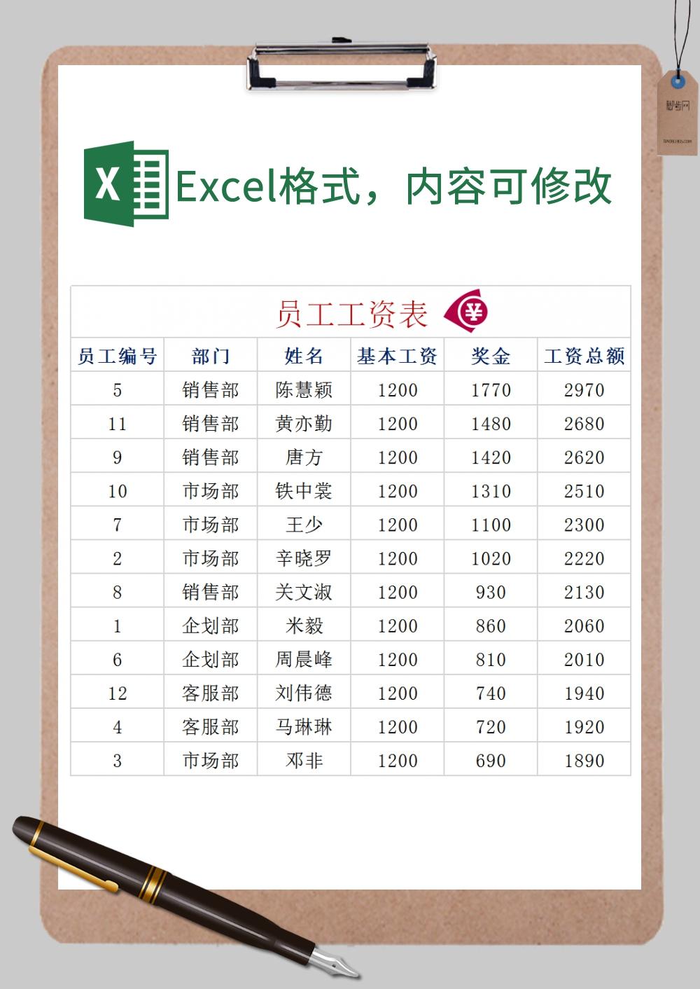 简洁员工工资表Excel模板