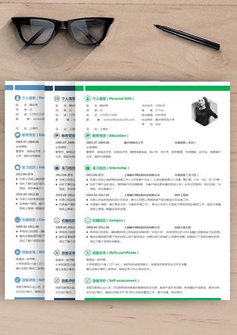 清新双色文字单栏中文简历038缩略图0