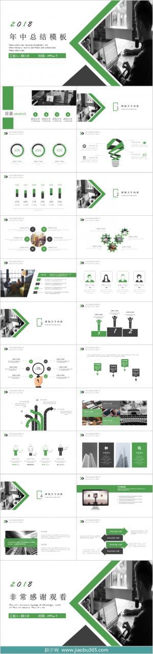 2019黑绿色年中总结PPT模板