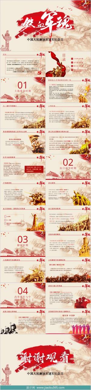 红色中国风建军节PPT模板