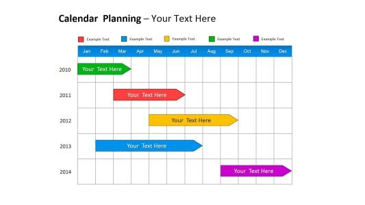 彩色项目进度计划通用ppt模板PPT图表