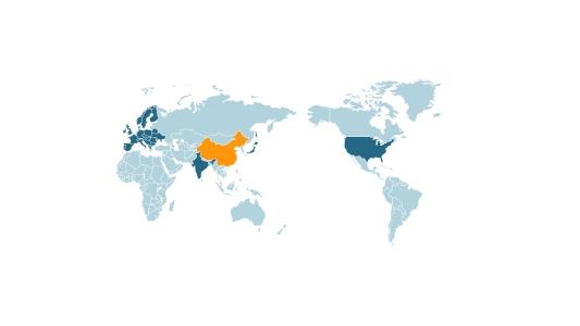 可填充颜色世界地图通用讲解PPT图表