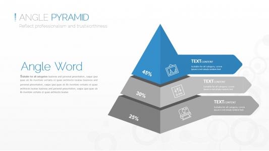 创意立体三层金字塔图形ppt模板素材PPT图表