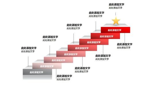 创意立体楼梯形递进关系ppt素材PPT图表