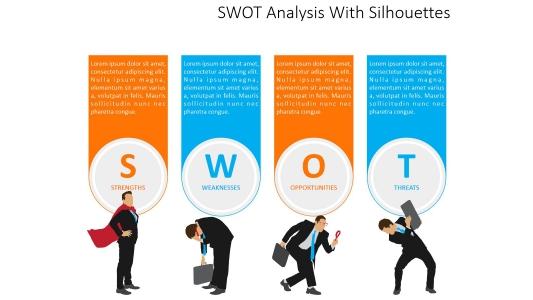 形象化剪影swot分析图表PPT模板