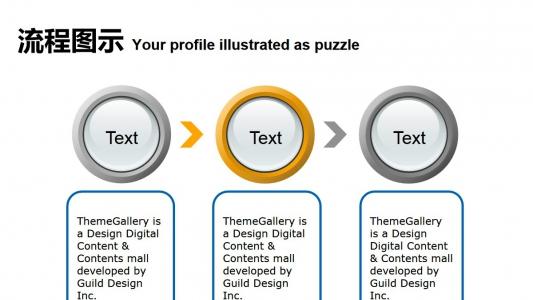 三步說明流程圖圖表PPT模板