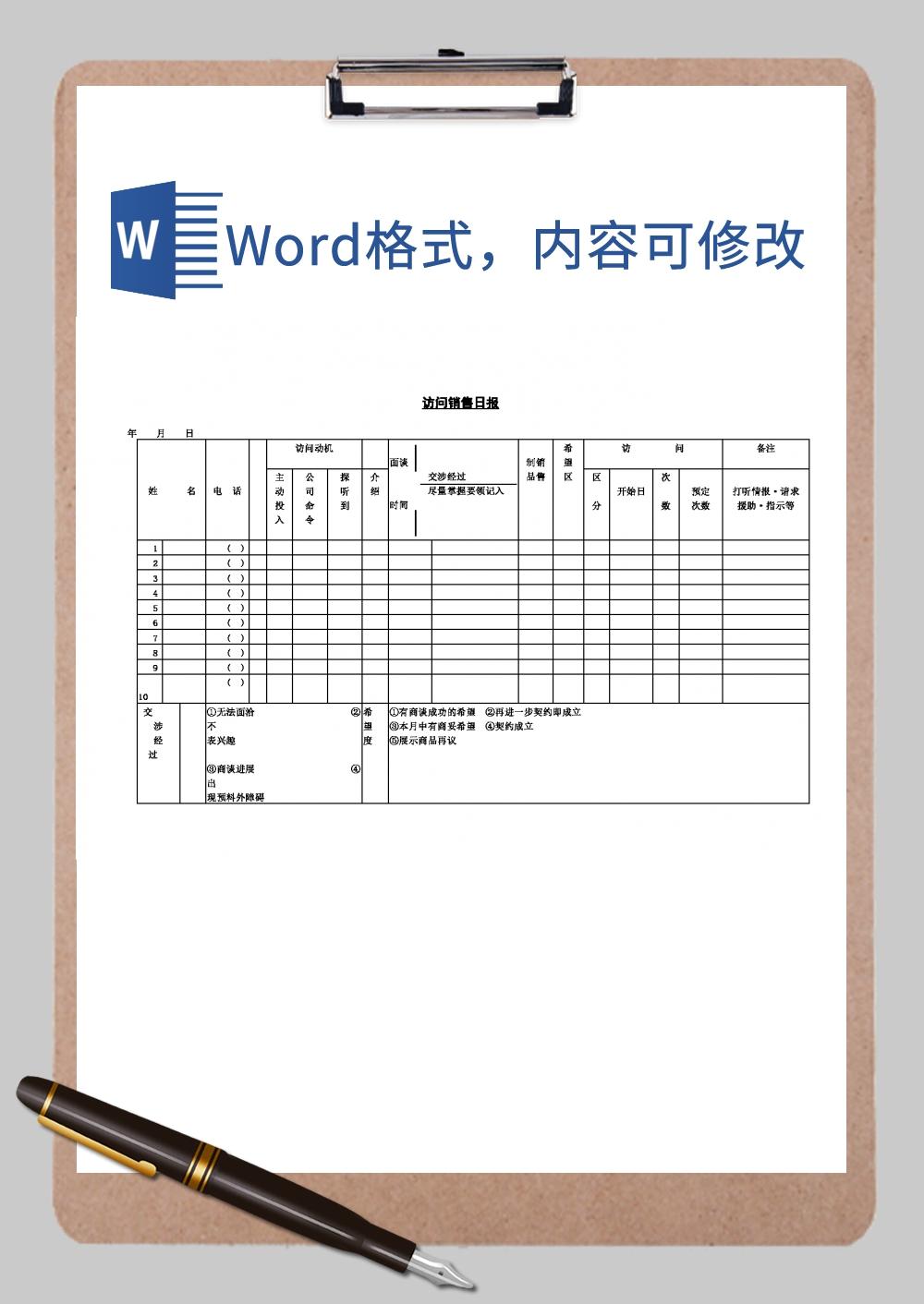 访问销售日报Word模板